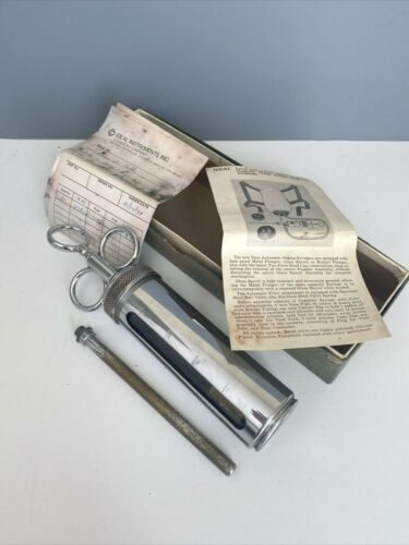 Vintage Veterinary Syringe IDEAL Large Instructions Vaco Automatic Plunger Glass