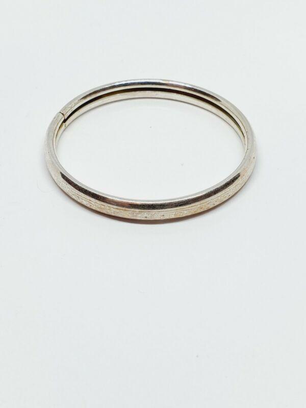 """Vintage Sterling Silver Etched Bangle Bracelet 4.75"""" for Baby / Child"""