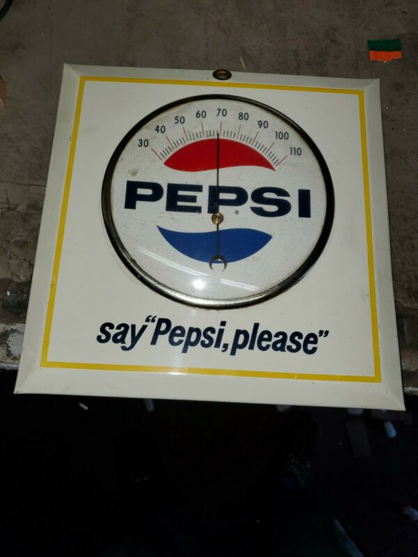 "Vintage Tin Metal Pepsi Soda Advertising Thermometer Sign..Near mint 9""x9"""