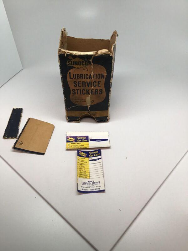 Vintage Sunoco Oil Change Sticker Box And Sticker
