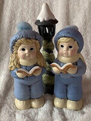 Ceramic GIRL BOY CHRISTMAS CAROLERS LAMP POST STREET LANTERN 3 PCS BLUE WHITE