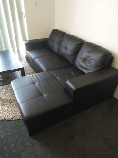 2 Seater and chase Sofa in PU black leather