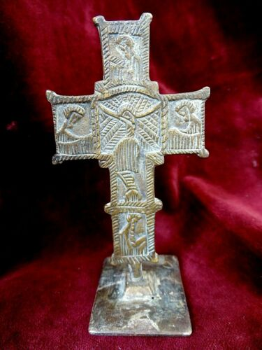 Ancient Byzantine Medieval bronze Cross Crucifix with bread stamp Prosphora