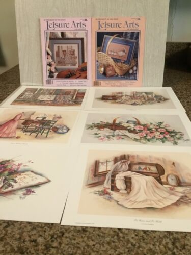 Two Leisure Arts Magazines with Paula Vaughan & Collection of Small Prints New