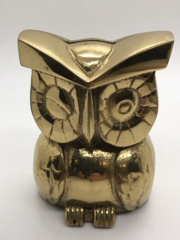 Very Cute Vintage Solid Brass Winking Owl Coin Bank