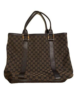 RARE Vintage GUCCI Dark Brown Monogram canvas GG tote Shoppers bag