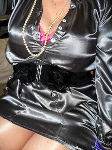 18 20 SEXY SECRETARY WET LOOK LIQUID SATIN PEWTER BLOUSE MISTRESS shirt top cd