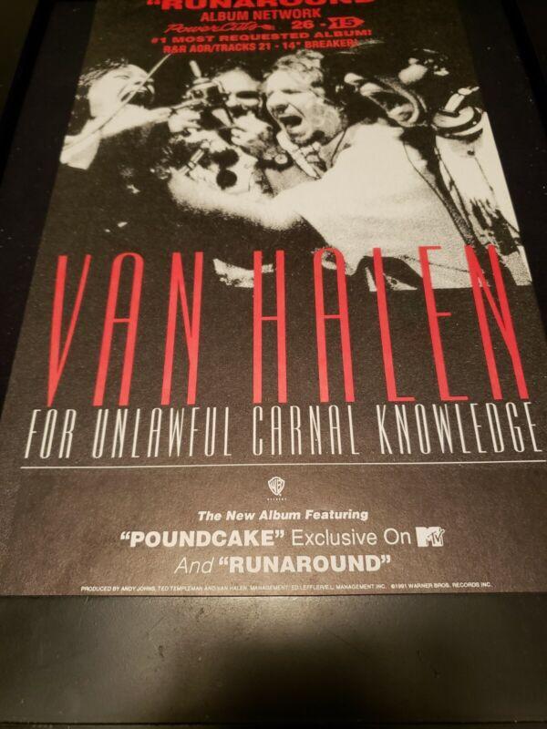 Van Halen Runaround Rare Original Radio Promo Poster Ad Framed!