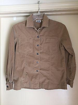 Chico's Design Tan Beige Corduroy Cotton Blend LS Shirt Jacke Sz.0 (SM/) EUC ()