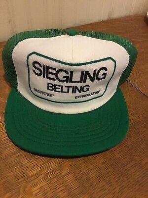 Vintage Siegling Belting Green Mesh Snapback Advertising Hat