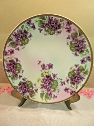 ANTIQUE 0 &E.G. ROYAL AUSTRIA GERMANY  PLATE WHITE PURPLE FLOWERS GOLD