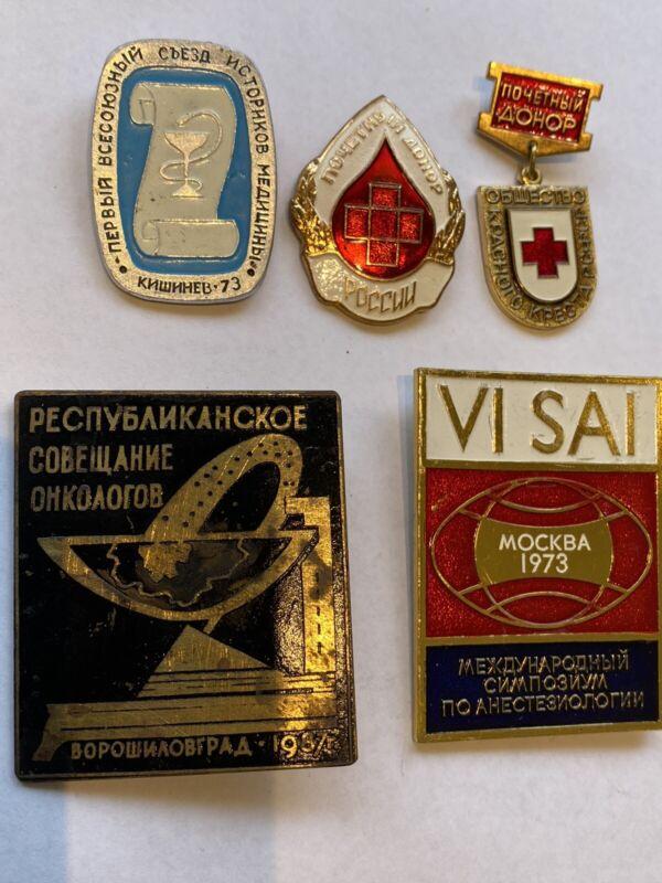 5 SOVIET USSR MEDICAL BADGES SIGNS 1973 Oncology Anastesiology Meetings Big Nice