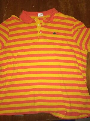 Lacoste Polo Shirt Croc Logo Men Lacoste Size 8 US 3XL Striped Made France F5191