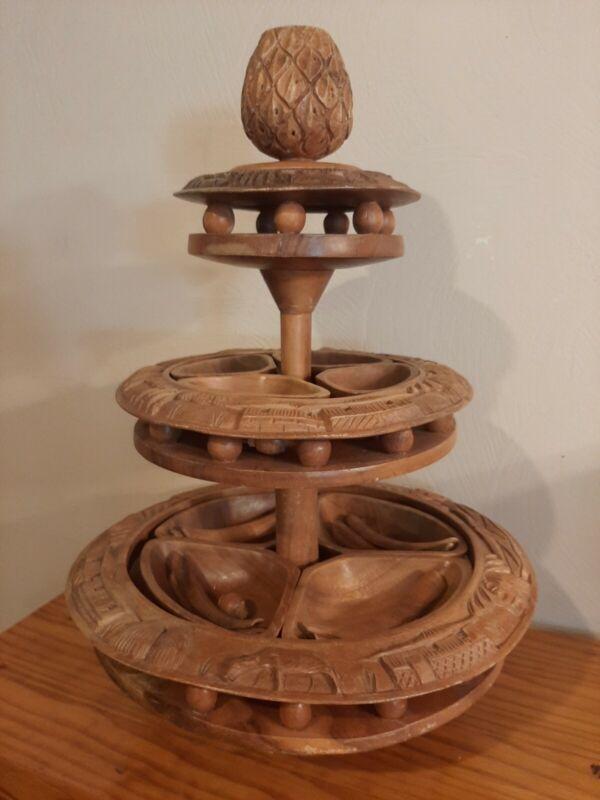 Vintage Hand Carved Monkey Pod Tiki Lazy Susan 3 Tier Pineapple Complete