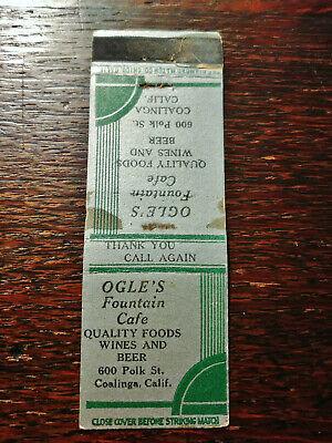 Vintage Matchcover: Ogles Fountain Cafe, Coalinga, CA N