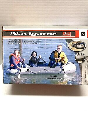 Navigator 3 Person Inflatable Boat with Oars New in Box Ready to Float! Navigator Inflatable Boat
