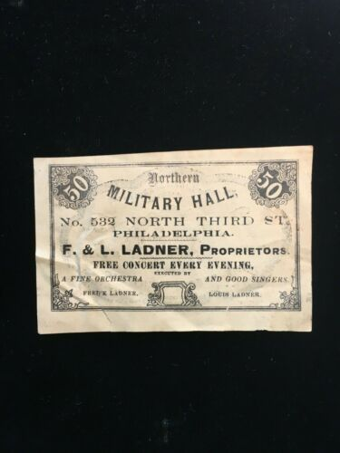 Northern Military Hall concert ticket Philadelphia 1880