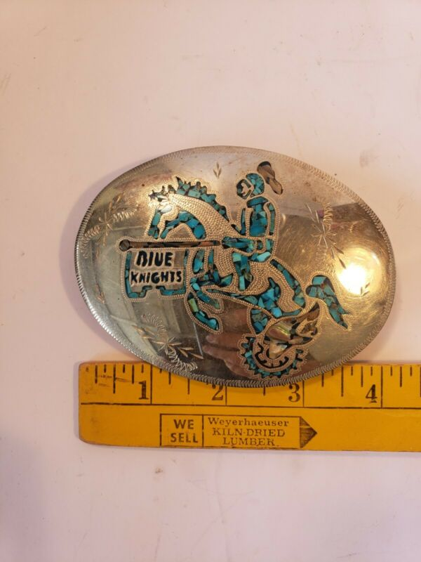 Silver And Turquoise ILEMC, Blue Knights Belt Buckle, Police Motorcycle Club
