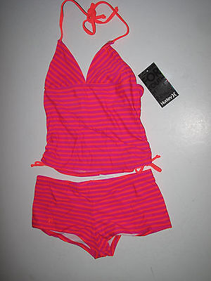 NWT Hurley Girls 14 Pink Orange Thin Stripe Print Boy Short Tankini Swimsuit