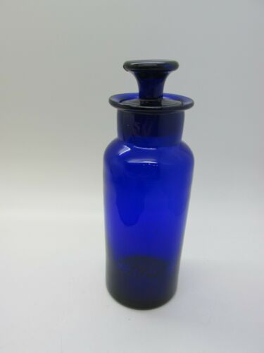 Antique Cobalt Blue Hand Blown Ground Stopper Glass Apothecary Pharmacy Jar