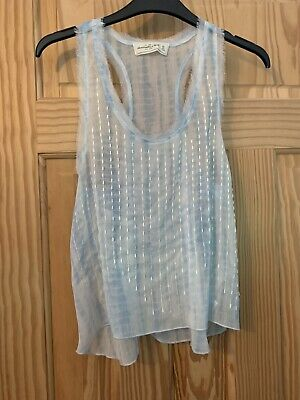 XS Pale Blue Sheer Abercrombie And Fitch Women's Top With Beaded Front, Size 6/8