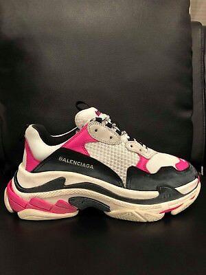 NIB Balenciaga Triple S Sneaker Womens Black Pink Leather Speed Flat  Trainers 42