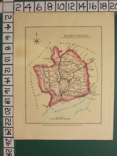 c1830 GEORGIAN MAP ~ MONMOUTHSHIRE ~ NEWPORT CAERLEON PONTYPOOL ABERGAVENNY