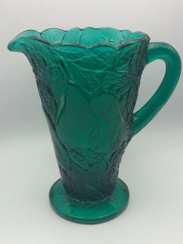 Vintage Indiana Glass Tiara Avocado Sweet Pear Dark Green Pitcher 64 Oz