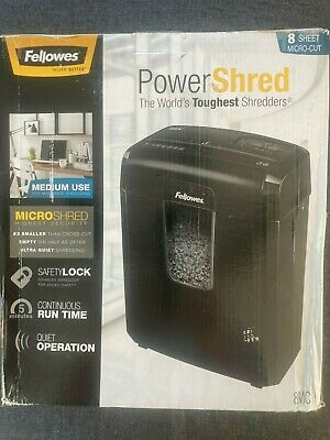 Fellowes Powershred 8mc8mc5 8-sheet Micro-cut Paper Shredder Blackopen Box