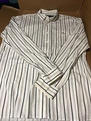 Polo Ralph Lauren Men's Custom Fit White Black Stripe Button Shirt L Casual Button-Down Shirts