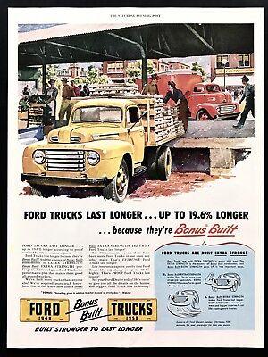 1948 Vintage Print Ad 40's Style FORD Trucks  Illustration Art Hauling Flat (Flat Illustration Style)