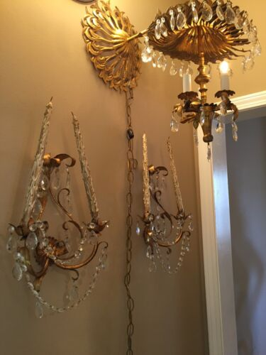 Harvest Italian GiltTole Wall Sconces With Crystal Prisms And Chandelier/Sconce