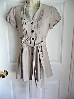 MINE Anthropologie Top Tunic S Laced Back Waist Tie Cotton Nylon Grey Taupe