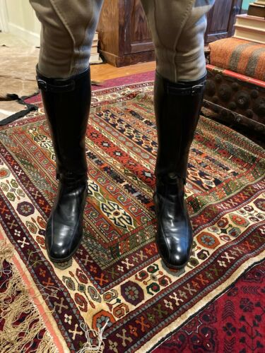 ANTIQUE BLACK LEATHER GAITERS, EQUESTRIAN MOTORCYCLE, EARLY 20TH CENTURY