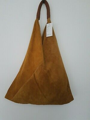 Stunning XL Soft mustard  italian Suede And Leather Hobo Sac Bag