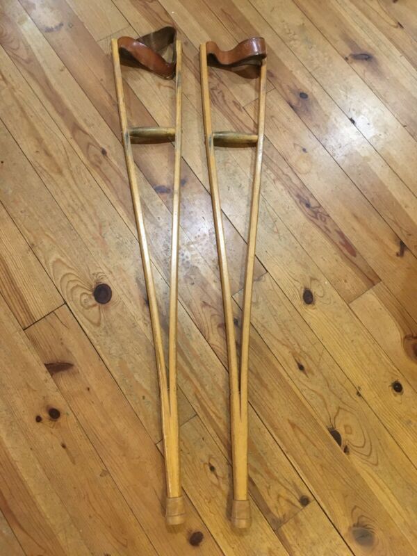 "Vintage Antique Wooden Walking Forearm Crutches Leather Straps 40.75"" Long"