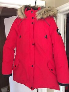 Red winter down filled coat