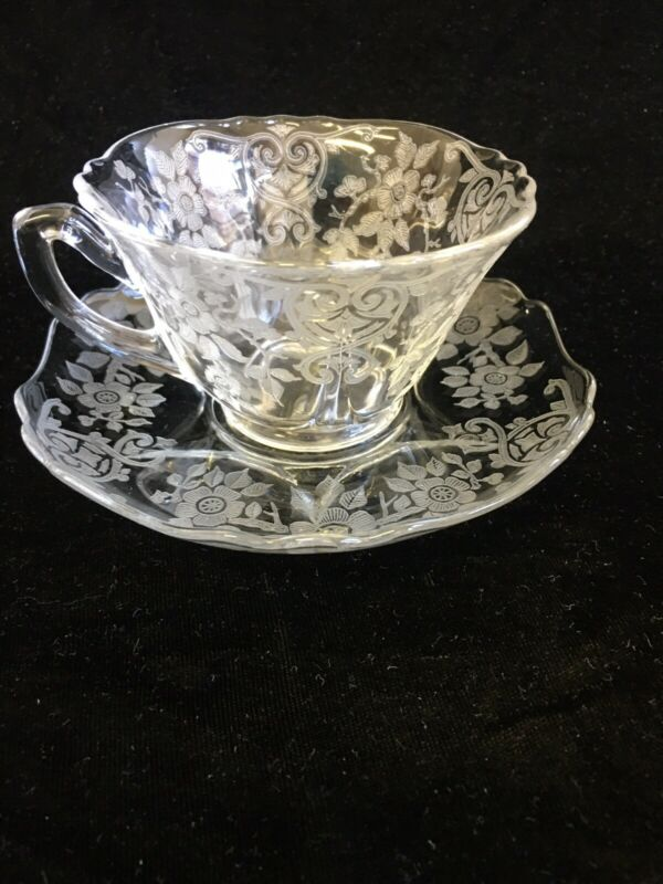 Cambridge Glass Company Apple Blossom cup and saucer 3400