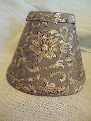 Ornate Flower Scrolled Brown Gold White Simba Silk 5  Mini Clip Lamp Shade Set 2