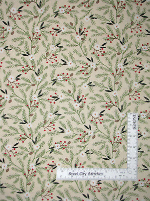 Christmas Reason For The Season Pine Berry Cotton Fabric Wilmington By The Yard