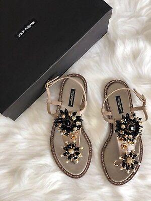 NIB $1137 Dolce & Gabbana Rhinestone Thong Sandals size 37