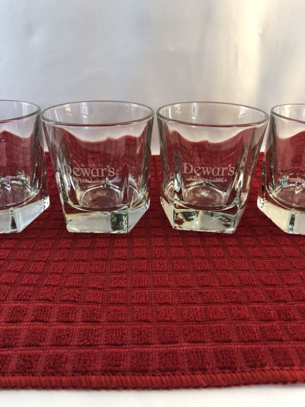 4 Libbey Duratuff  Dewars White Label Scotch Whisky Rocks Glasses Pentagon Base