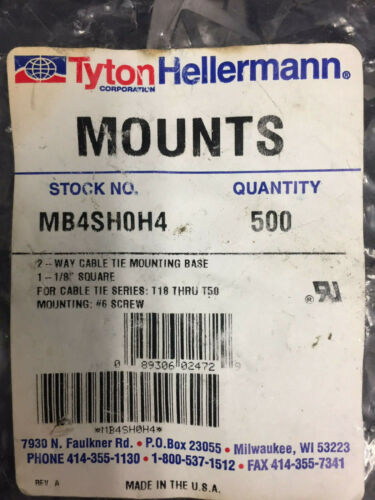 Hellermann Tyton MB4SH0H4 Cable Tie Mounting Base / Bag of 500 / MB4SH
