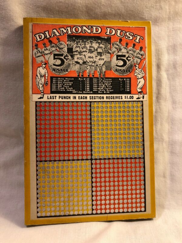 Vintage Nice Unpunched Punch Board Ruth Gehrig Foxx W/Key Gambling