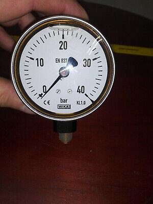Wika En 837-1 3 Stainless Liquid Filled Gauge 0-40 Bar 14 Npt Steampunk
