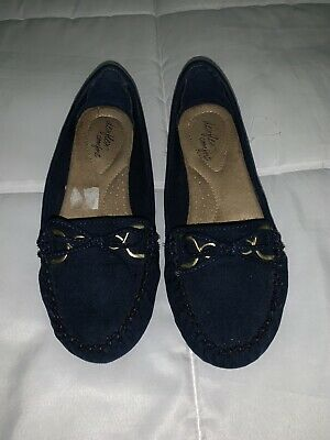 Womens Navy Blue Faux Suede Moccasins/ Driving Shoes Dexflex Comfort