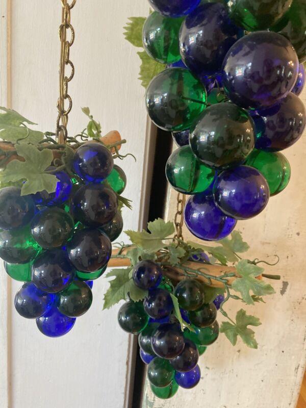Vintage MCM TRIPLE Grape Cluster Hanging Light Fixture Rare Swag Graduated Lgth