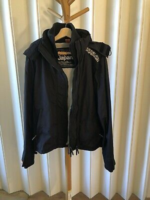 SuperDry Windcheater Triple Zip Hooded Snow Rain Black Jacket Men's Size Small