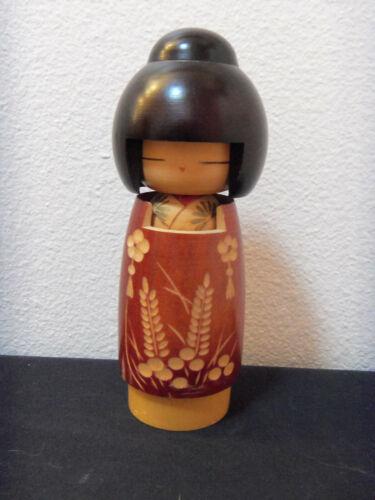 pretty vintage Japanese Kosheki wood doll with carved flowers in kimono