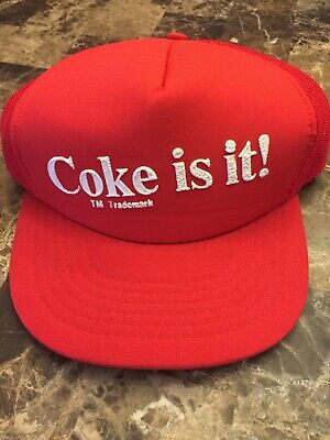 Vintage 1980s COKE IT IS - DELIVERY TRUCKER HAT Cap Red White COCA~COLA,